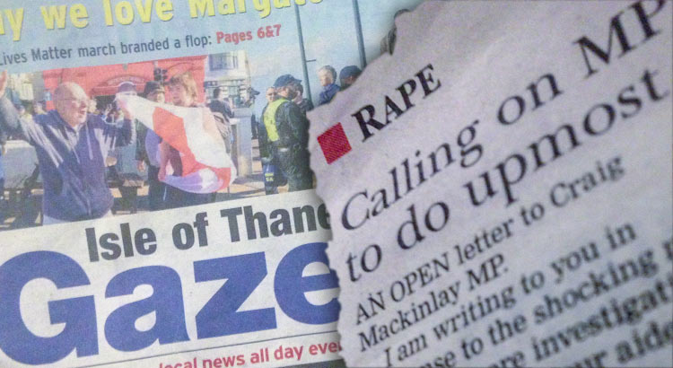 Open letter from Karen Constantine to Craig Mackinlay in the Thanet Gazette about rape