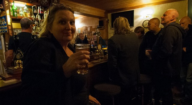 Karen Constantine enjoying her real ale at The Montefiore Arms in Ramsgate