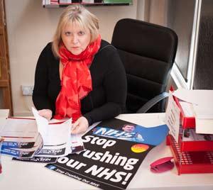 Karen Constantine at her desk in Newington, Ramsgate