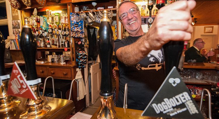 Peter pulling a pint at The Montefiore Arms in Ramsgate