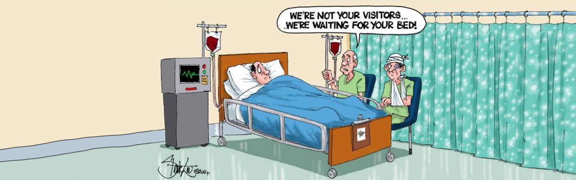 Cartoon illustration about the NHS bed crisis