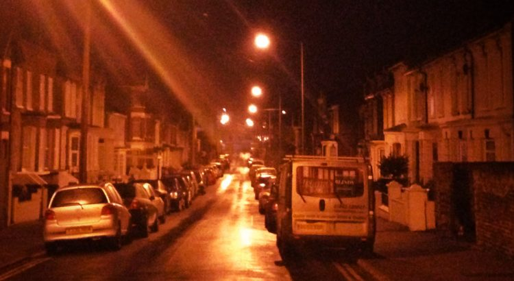 Streetlights illuminate Southeastern Road in Ramsgate