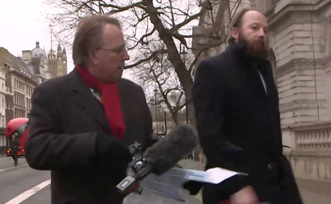 Michael Crick chasing Nick Timothy during the Channel 4 News report