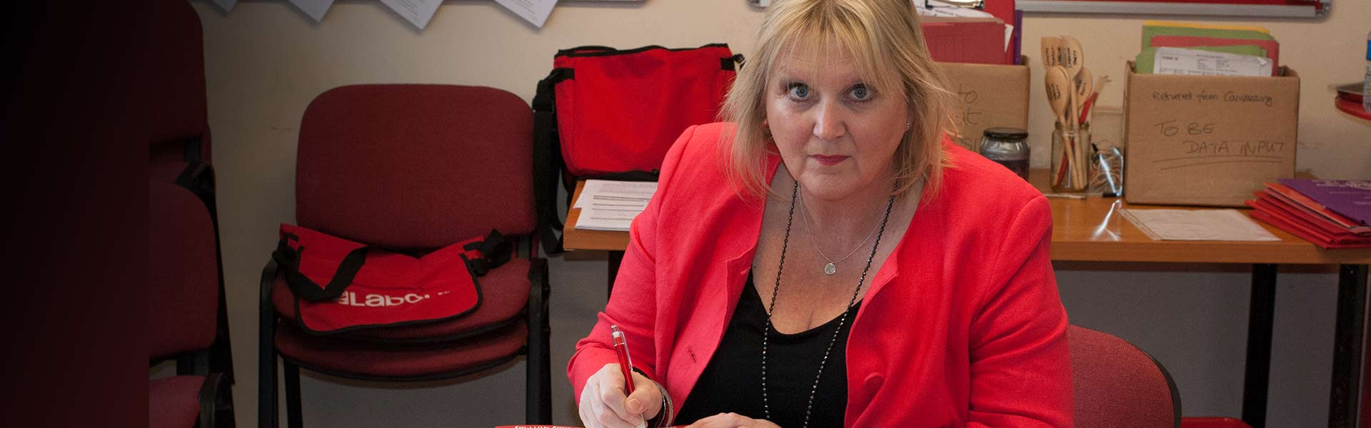 Labour's Karen Constantine at work in Newington, Ramsgate, Thanet, Kent.