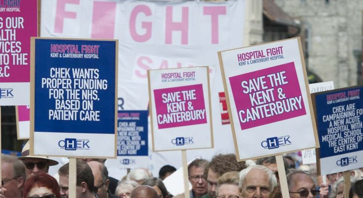 Kent and Canterbury Hospital demonstrators in Canterbury