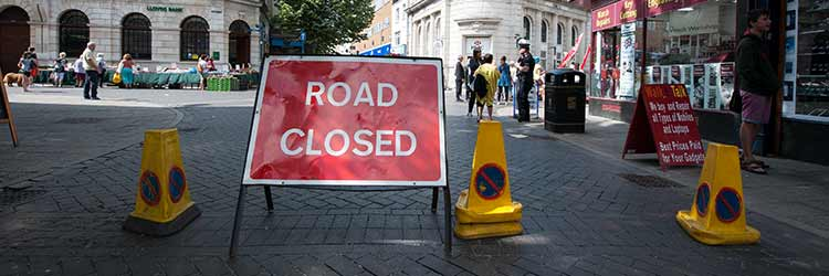 Road Closed sign on Harbour Street, Ramsgate