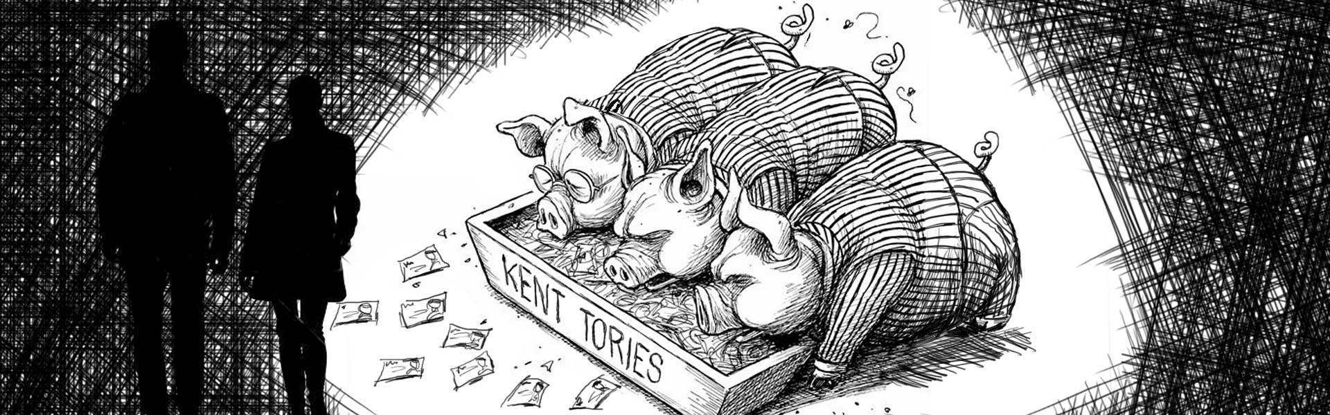Tory pigs. Thanet shadows. Illustration adapted from an original by Adam Zyglis / Buffalo News