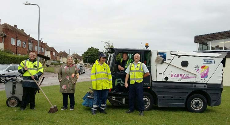 Karen Constantine and Thanet District Council workers in Newington