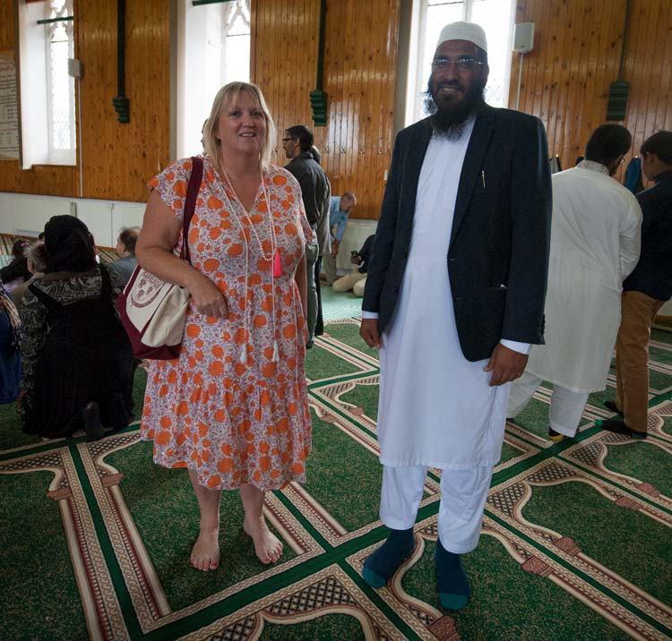 Karen Constantine with the Imam of Margate Mosque