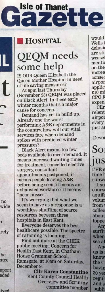 Karen Constantine's letter in the Thanet Gazette, 1st December 2017