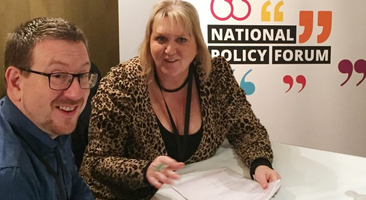 Karen Constantine and Andrew Gwynn MP discuss housing at The Labour National Policy Forum in Leeds