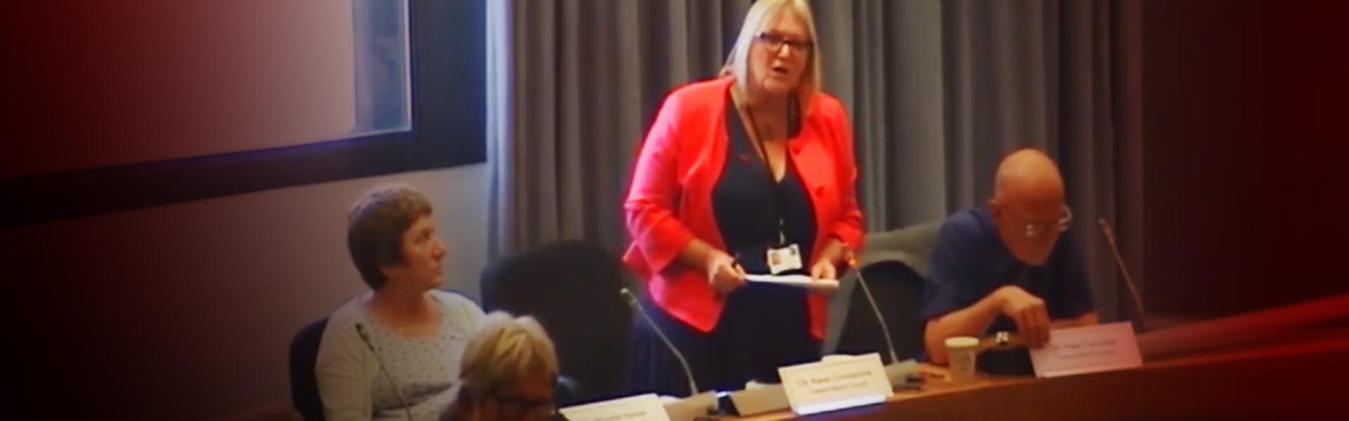 Karen Constantine asking a social housing question at Thanet District Council