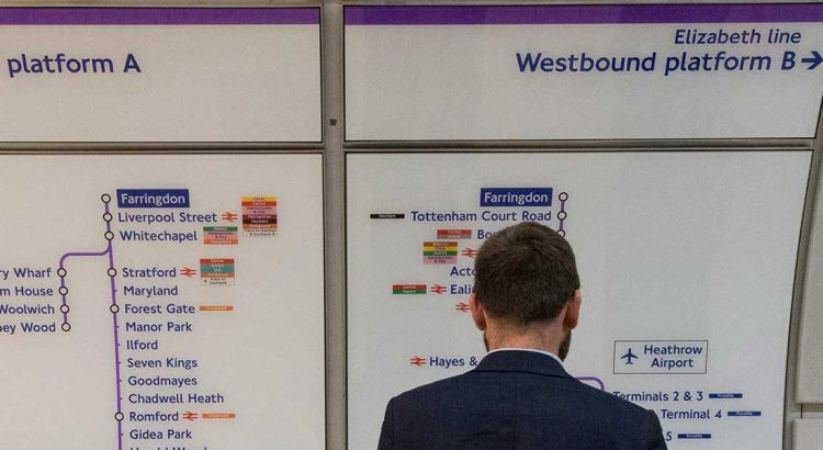 Crossrail signage at Farringdon by Chris Constantine