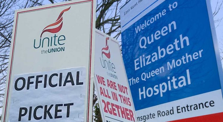 NHS staff strike at QEQM hospital Margate