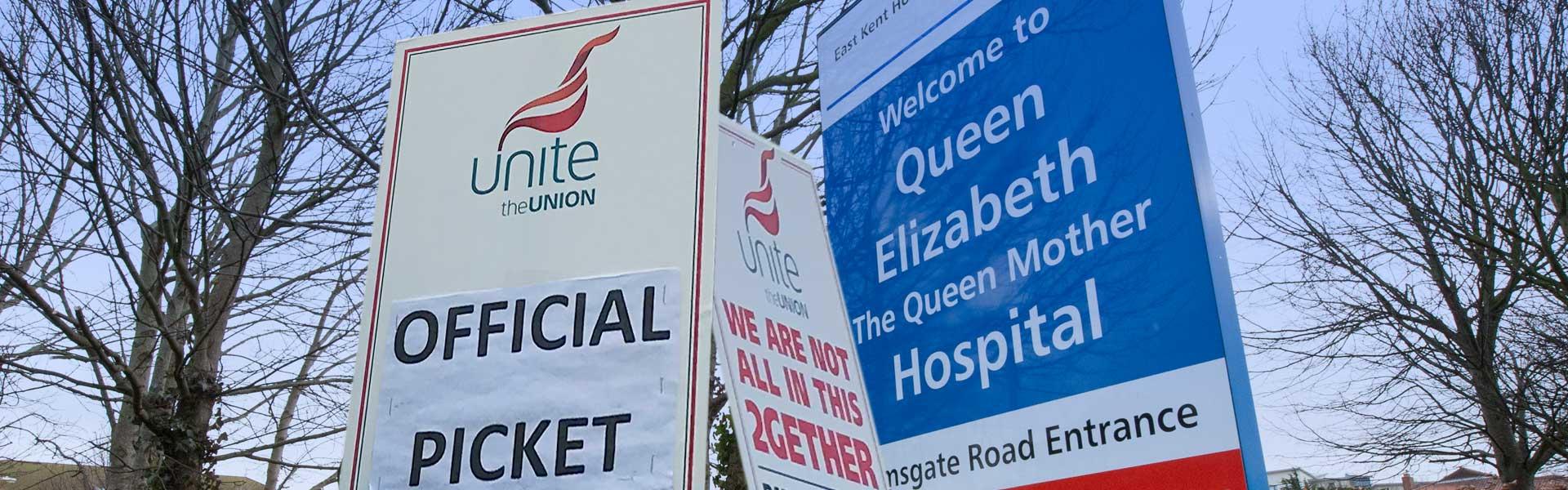 NHS staff strike at QEQM hospital Margate