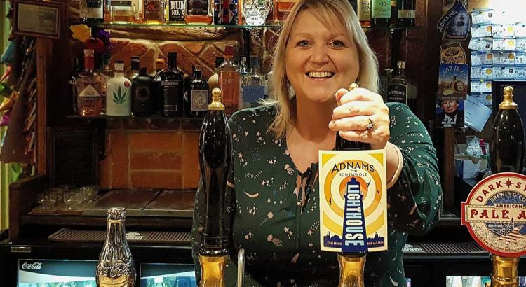 Karen Constantine behind the var in The Churchill Tavern, Ramsgate