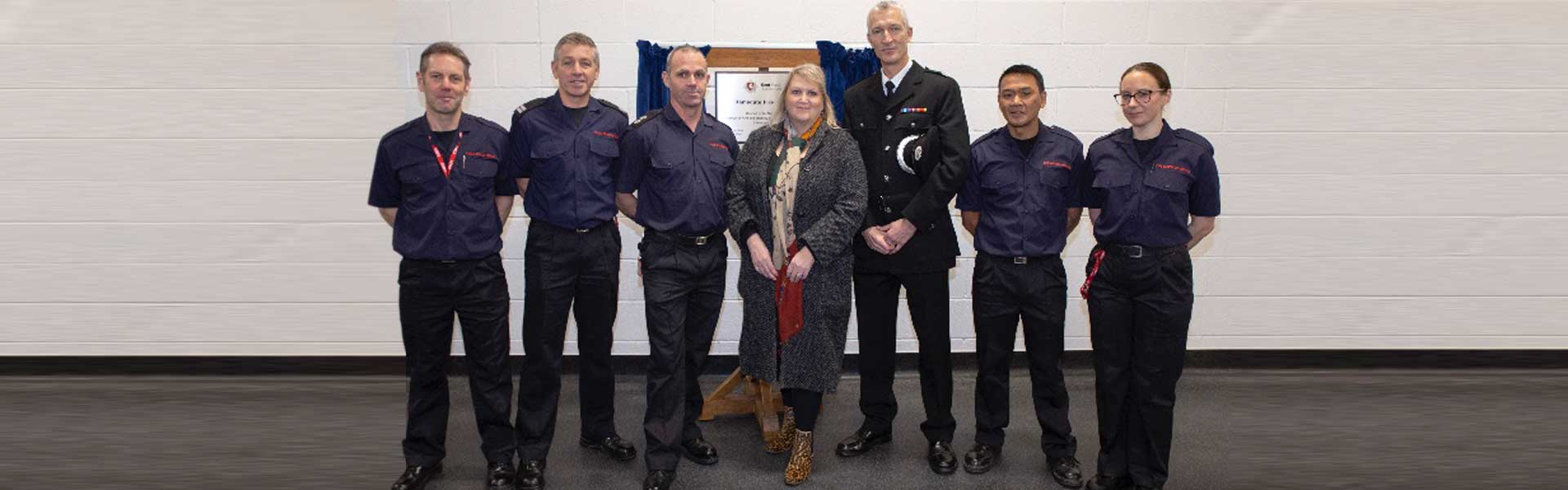 Karen Constantine with Kent and Medway Fire and Rescue professionals at Ramsgate Fire Station