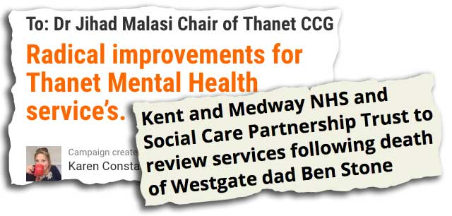 Mental Health Petition and news clipping