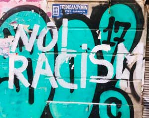 No Racism grafitti in Athens
