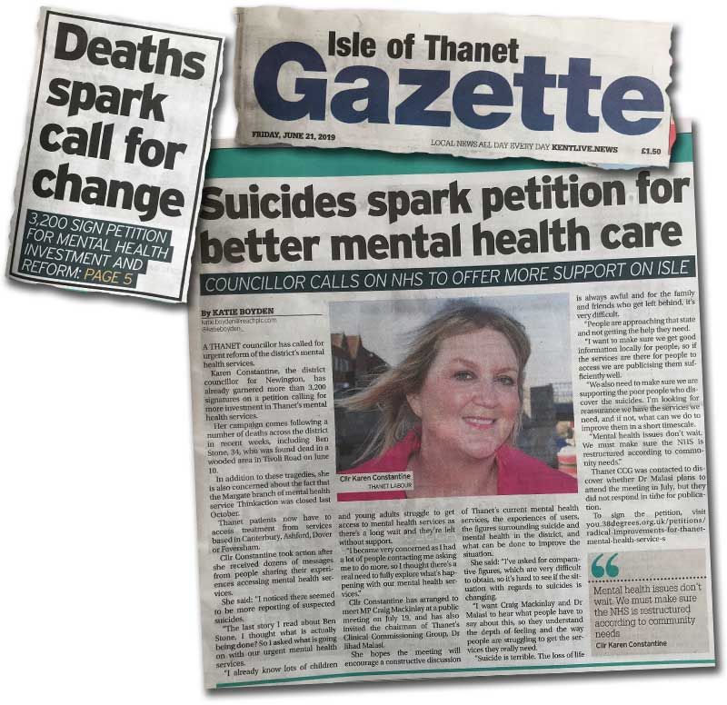 Clippings from The Thanet Gazette about our mental health crisis