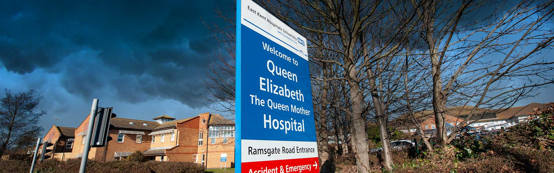 Header image: stormy skies over QEQM Hospital in Margate