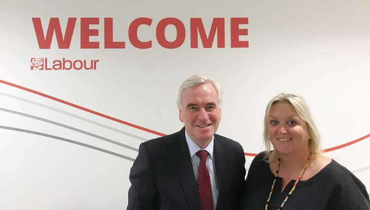 Karen Constantine and Shadow Chancellor, John McDonnell at Labour's National Policy Forum