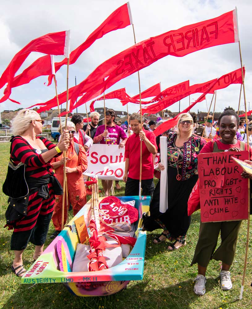 Labour Party activists gather for Margate Pride. Photo: Lillian Constantine