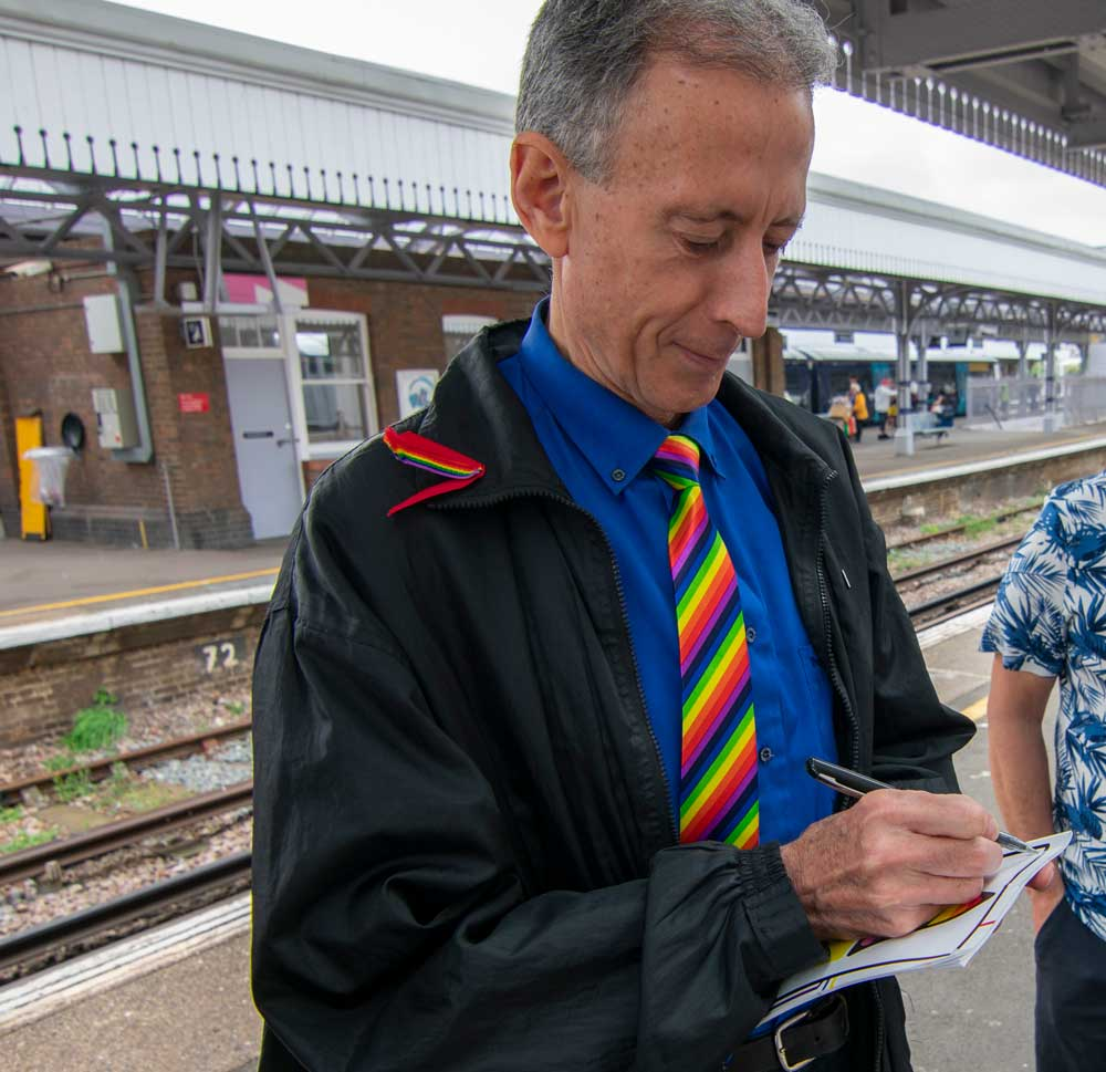 Peter Tatchell attive at the station for Margate Pride. Photo: Lillian Constantine