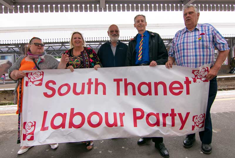 Peter Tatchell is welcomed at Margate Railway Station for Margate Pride by Labour Part Activists. Photo: Lillian Constantine