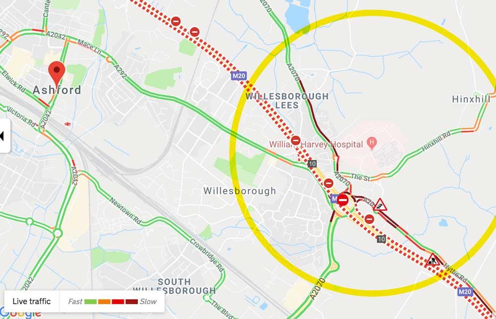William Harvey Hospital traffic map