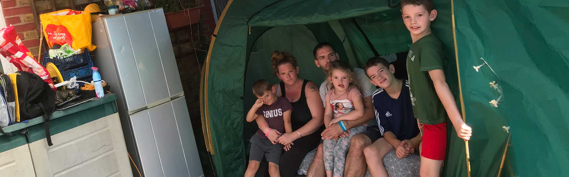 Image of Ramsgate family living in a tent