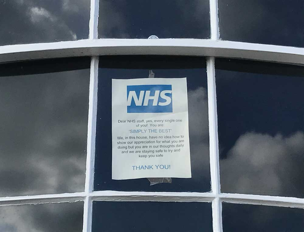 NHS support poster in a Ramsgate window