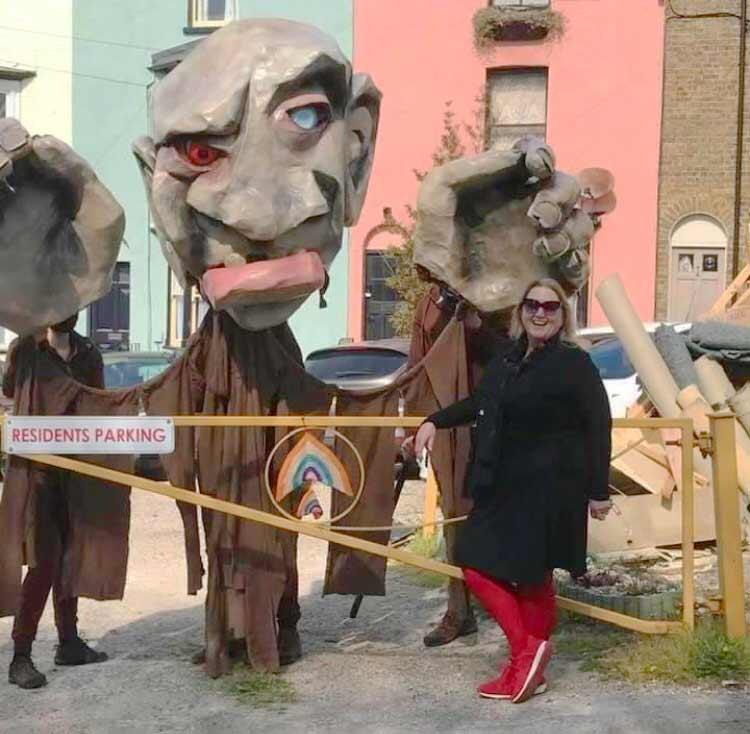 Karen Constantine with Looping The Loop street panto giants in Ramsgate