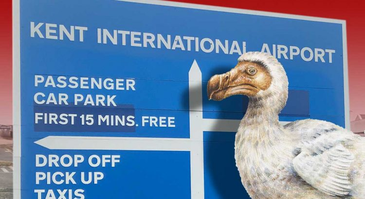 Dodo in front of the Manston Airport signage