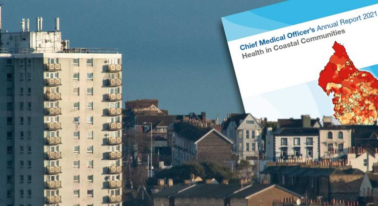 Coastal communities health report montage on Ramsgate skyline